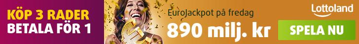 Eurojackpot 3 lottorader till priset av 1